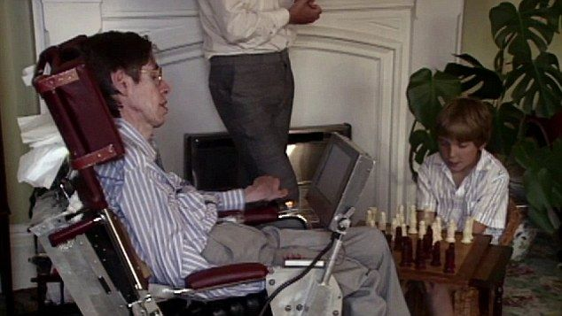 Tim and Stephen Hawking playing chess